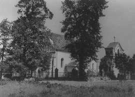 Tak było kiedyś_1: Zdjęcie przedstawia drzewa na tle budynków.