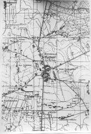 Tak było kiedyś_8: Zdjęcie przedstawia mapę Rychwała, napisy, linie i kropki.